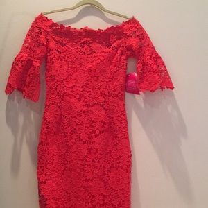 Bright red lace dress